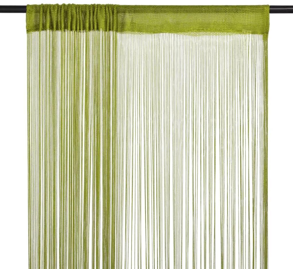 132412 vidaXL Draperii cu franjuri, 2 buc., 100 x 250 cm, verde