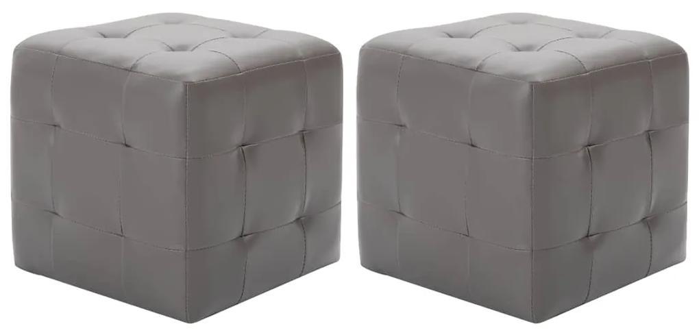 249013 vidaXL Noptiere, 2 buc., gri, 30x30x30 cm, piele ecologică