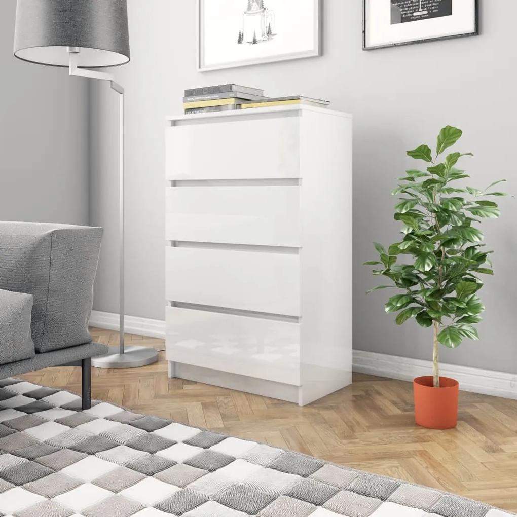 800537 vidaXL Servantă, alb extralucios, 60 x 35 x 98,5 cm, PAL