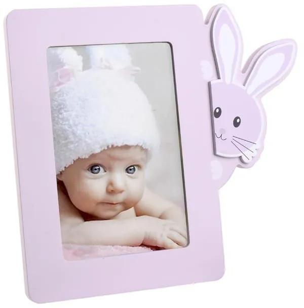 Rama foto lemn Pink Bunny 10x15