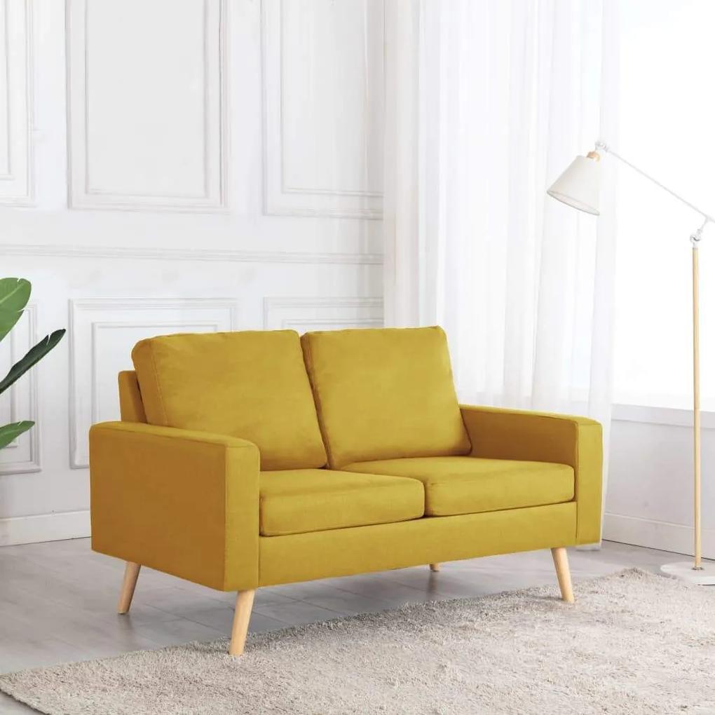 Canapea cu 2 locuri, galben, material textil