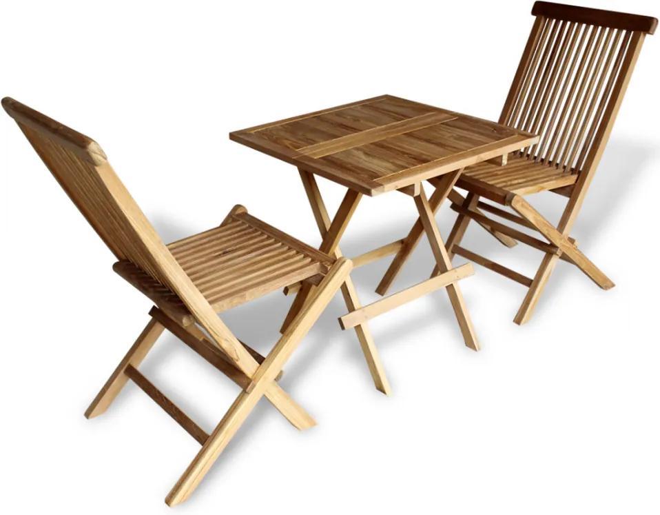 Set bistro pentru exterior din lemn de tec, 3 piese