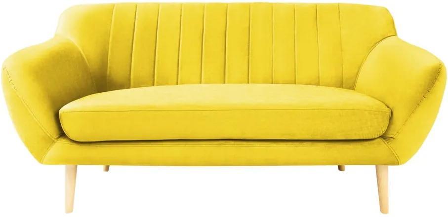 Canapea cu tapițerie din catifea Mazzini Sofas Sardaigne, 158 cm, galben