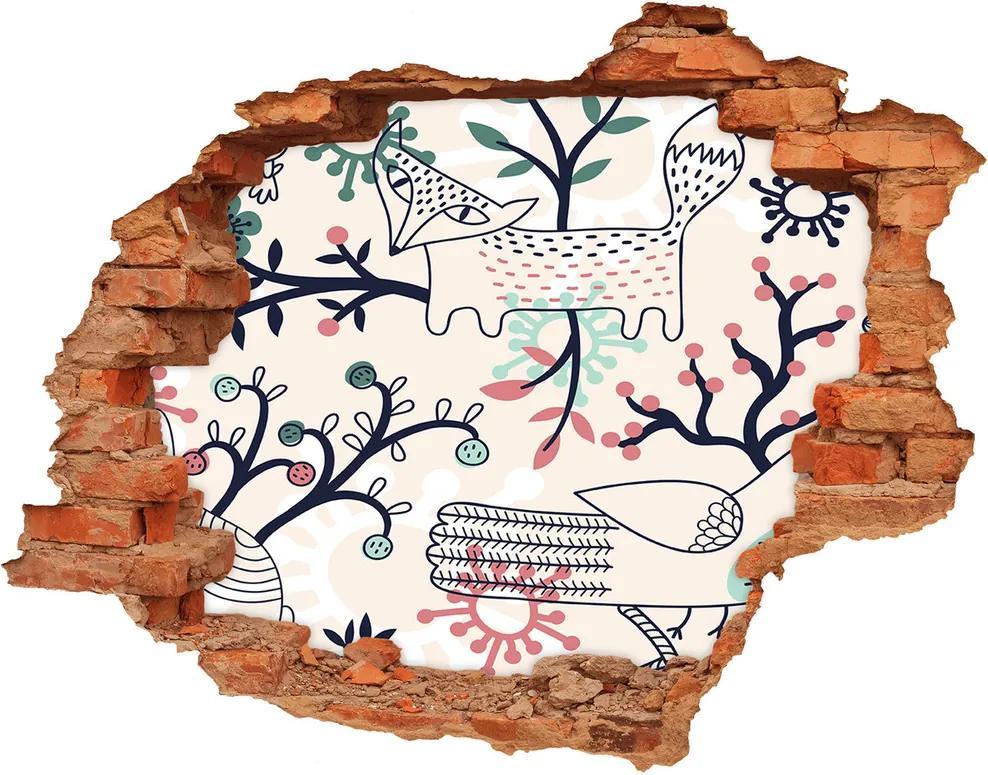 Autocolant un zid spart cu priveliște Animale și flori