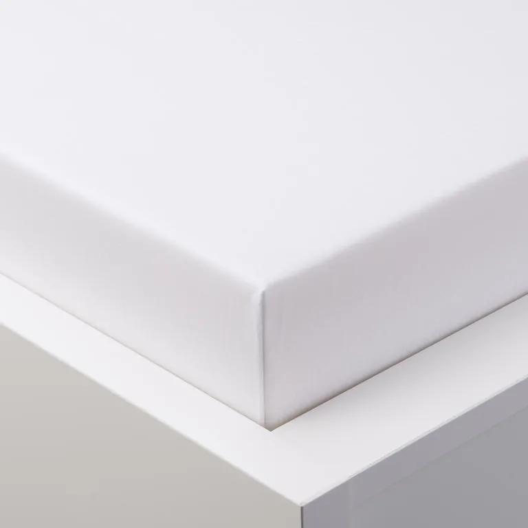 Cearșaf elastic jersey cu elastan alb 90 x 200 cm