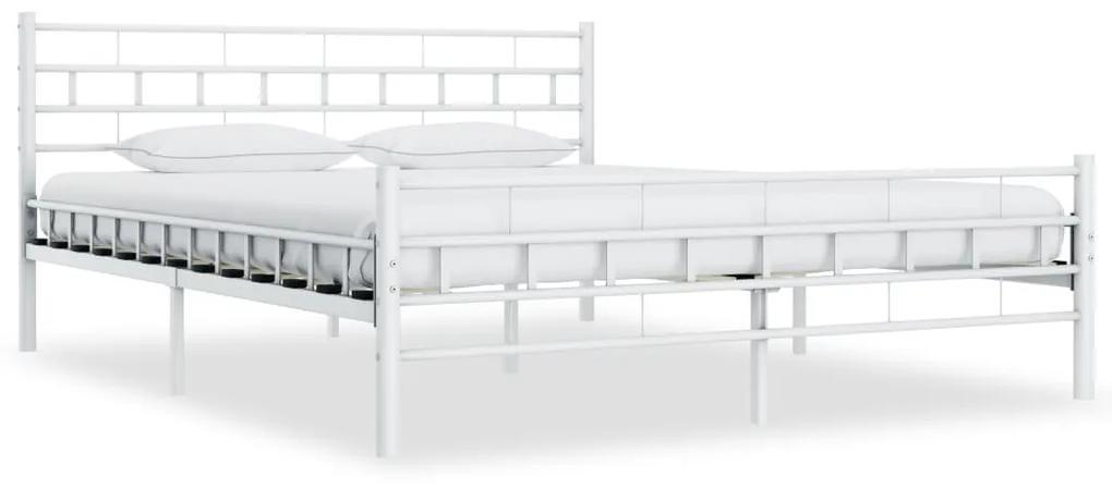 285301 vidaXL Cadru de pat, alb, 200 x 200 cm, metal