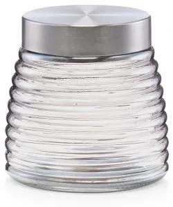 Recipient pentru depozitare cu capac metalic, Glass Silver B, 850 ml, Ø 12,5xH12 cm