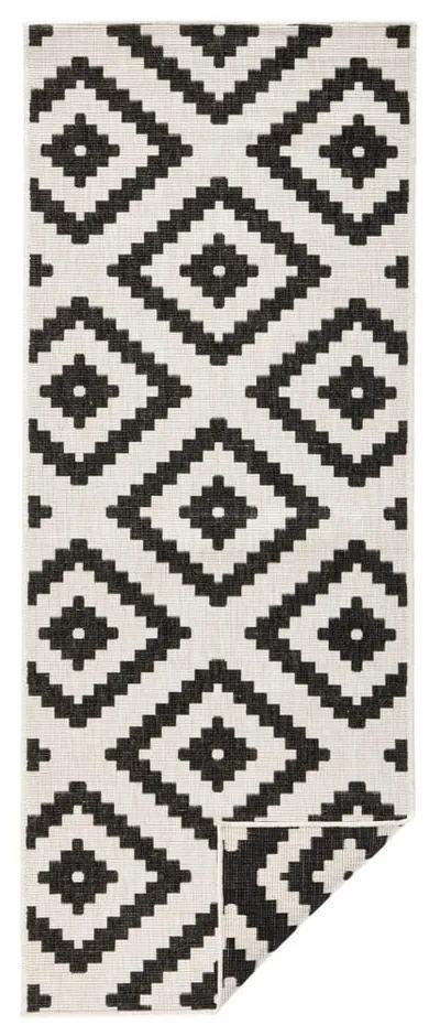 Covor adecvat pentru exterior Bougari Malta, 80 x 250 cm, negru - crem