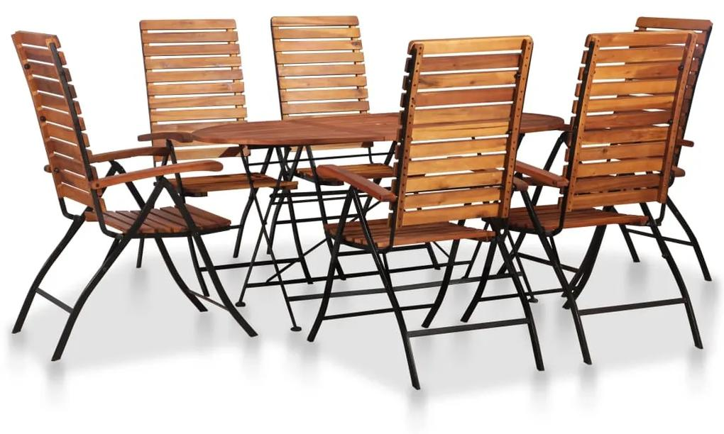 44396 vidaXL Set mobilier de grădină, 7 piese, lemn masiv de acacia