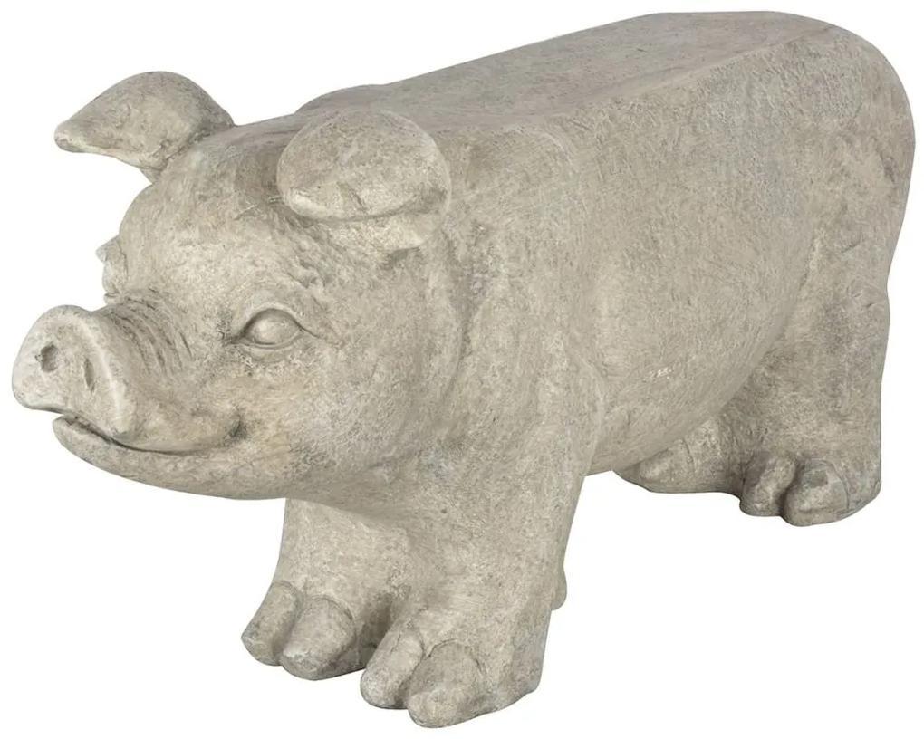 411508 Esschert Design Bancă pentru grădină în formă de porcușor gri