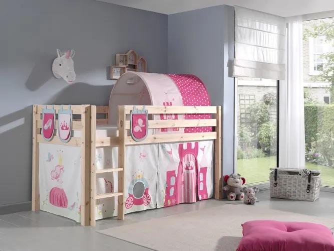 Pat etajat din lemn de pin, cu tunel si spatiu de joaca pentru copii Pino Plus Princess Natural, 200 x 90 cm