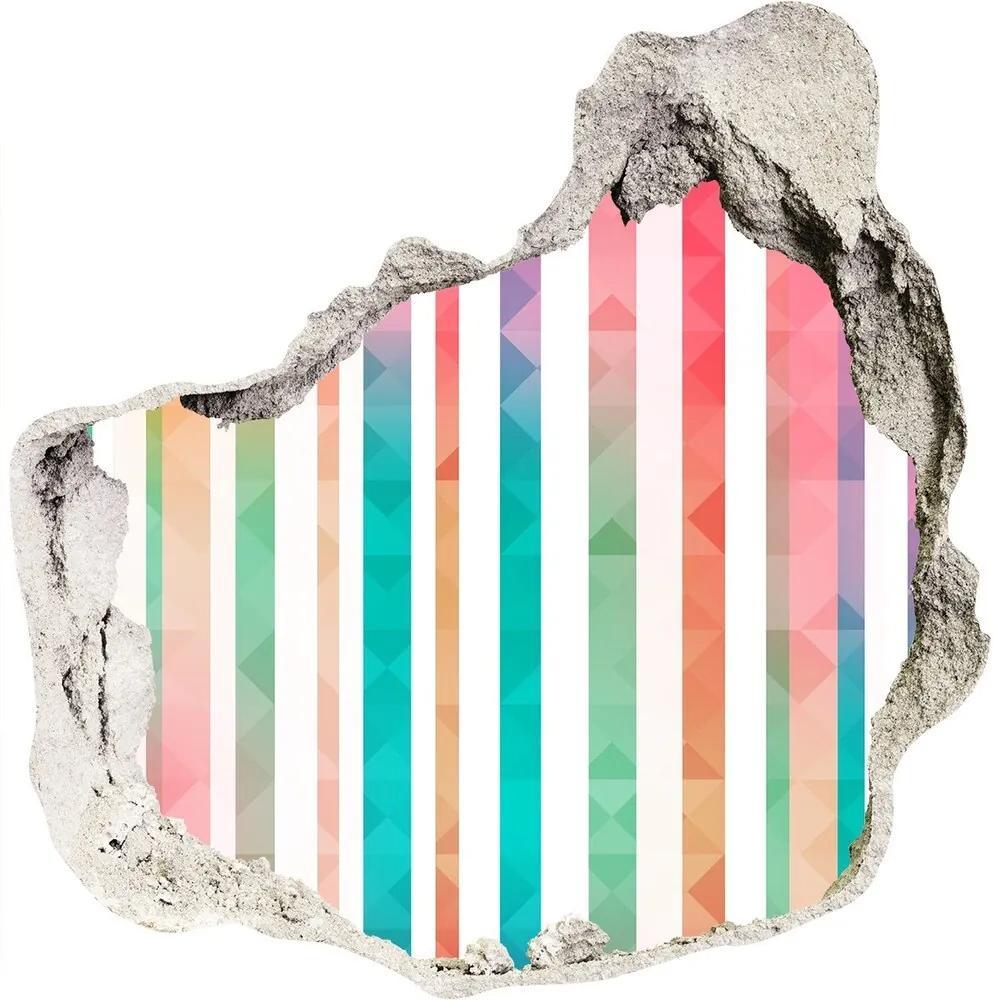 Fototapet 3D gaură în perete Curcubeu-dungi