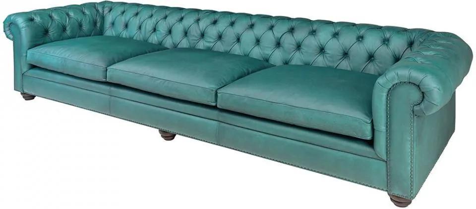 Canapea albastra din piele si lemn pentru 5 persoane Chesterfield