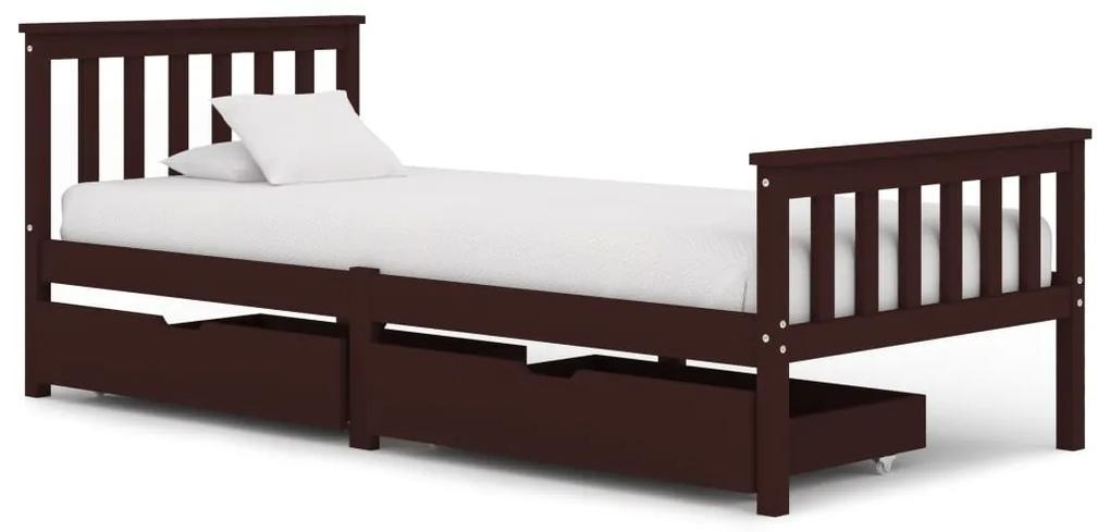 3060616 vidaXL Cadru de pat cu 2 sertare maro închis 100x200 cm lemn masiv pin