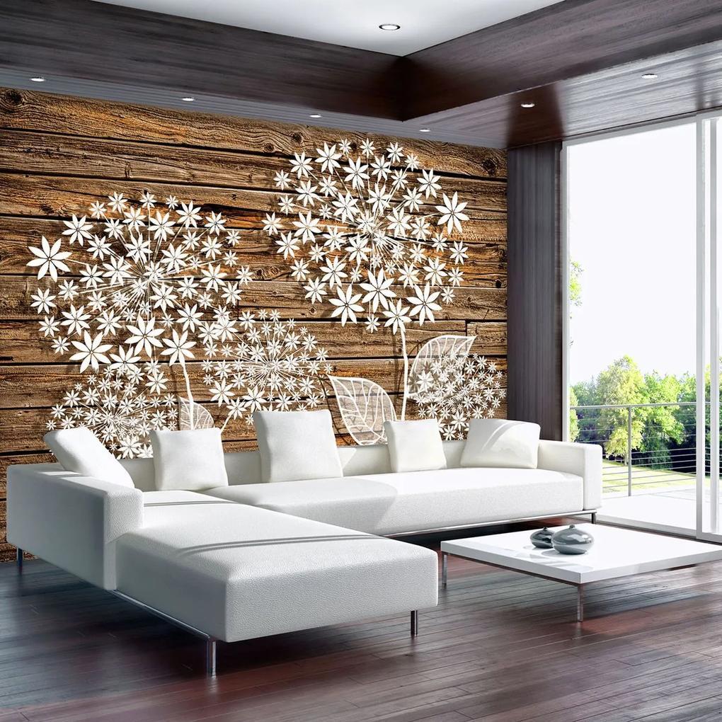 Fototapet - Flori pe lemn (152,5x104 cm), în 8 de alte dimensiuni noi