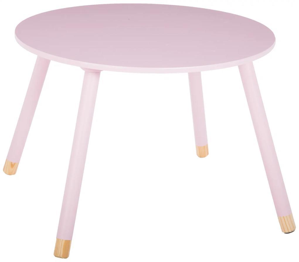 Masuta copii, din lemn, roz, inaltime 43 cm