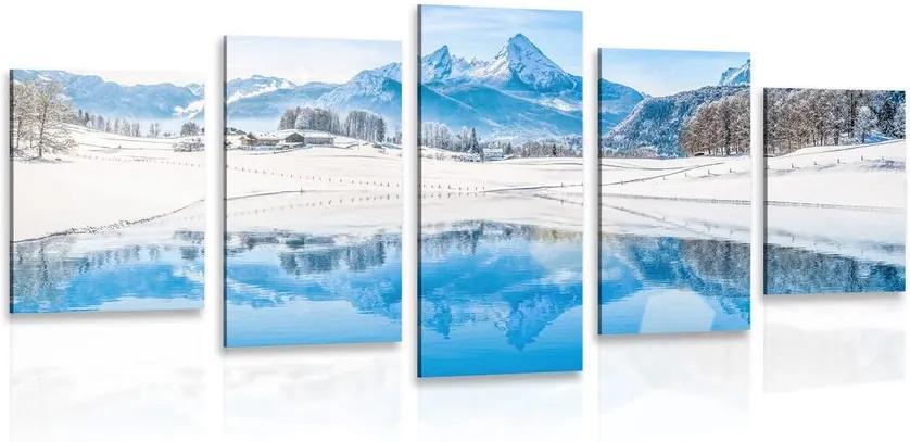 Tablou 5-piese peisajul înzăpezit în Alpi