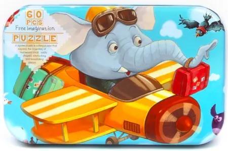 Puzzle din lemn - Elefant 60buc