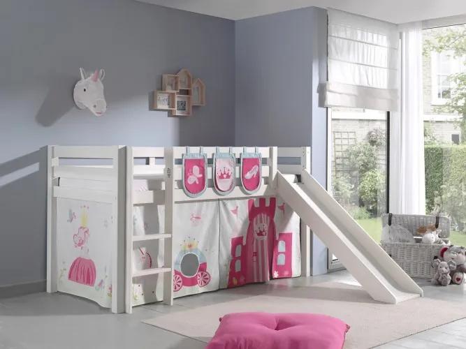 Pat etajat din lemn de pin, cu tobogan pentru copii Pino Plus Princess Alb, 200 x 90 cm