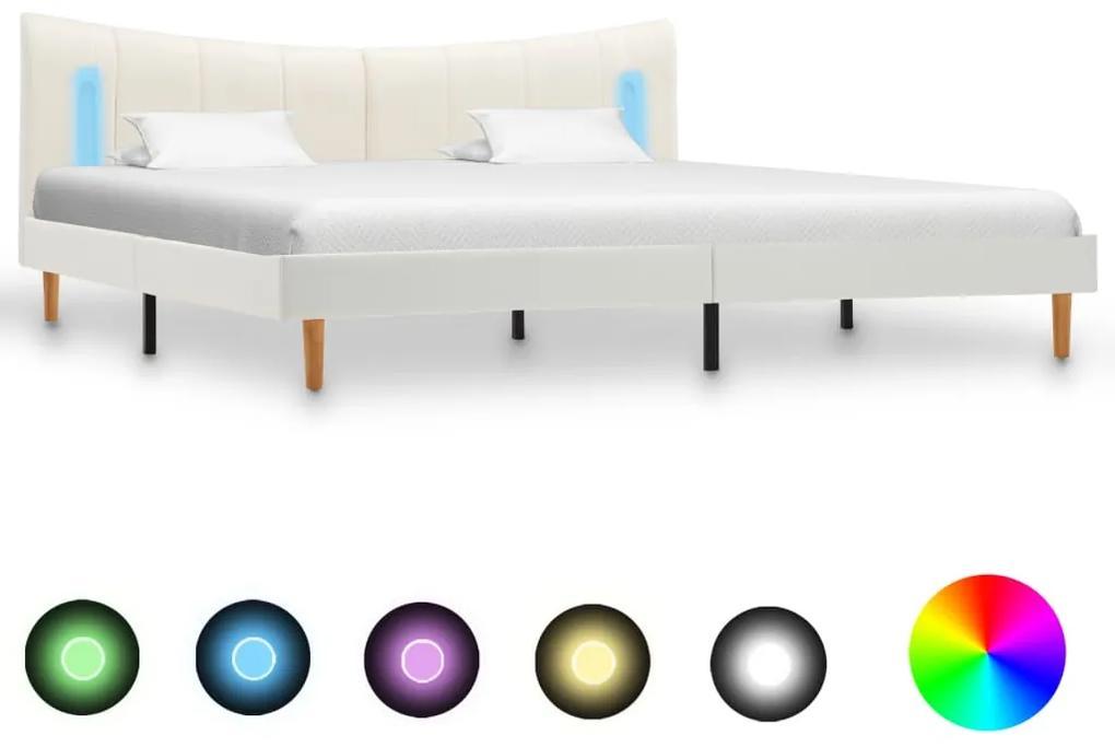 288534 vidaXL Cadru de pat cu LED, alb, 180 x 200 cm, piele artificială