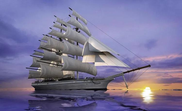 Sailing Ship Sunset Fototapet, (104 x 70.5 cm)