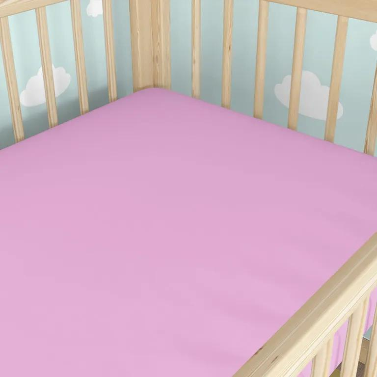 Goldea cearceafuri pătuț din bumbac cu elastic - roz 60 x 120 cm