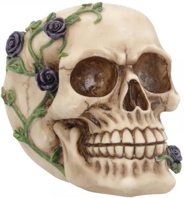 Statueta craniu cu trandafir Purple Rose from Beyond 15cm