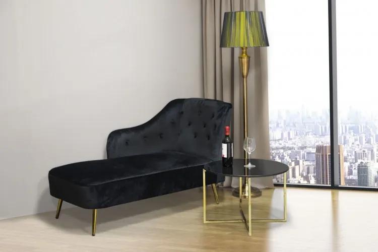 Banca tapitata cu stofa si picioare metalice Paris Lounge Negru, l132xA62xH90 cm