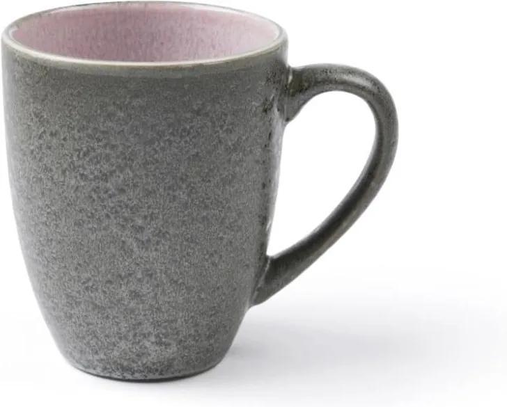 Cană cu toartă din ceramică și glazură interioară roz Bitz Mensa, 300 ml, gri