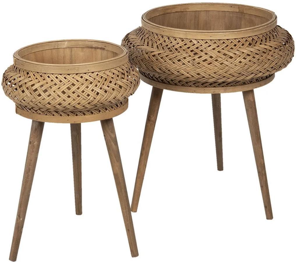 Set 2 suporturi pentru ghivece flori din lemn si bambus maro Ø 50 cm x 68 h; Ø 37 cm x 60 h