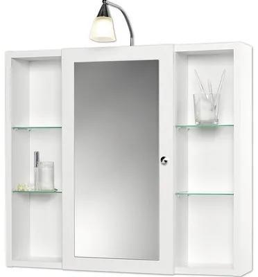 Dulap cu oglinda Sieper Latina, iluminare cu halogen si rafturi laterale, 72x78 cm, alb, IP 20