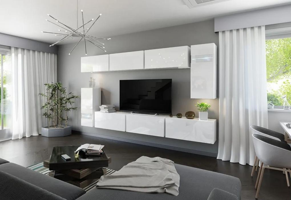 Expedo Mobilă sufragerie ELPASO 3 + LED, alb/alb luciu