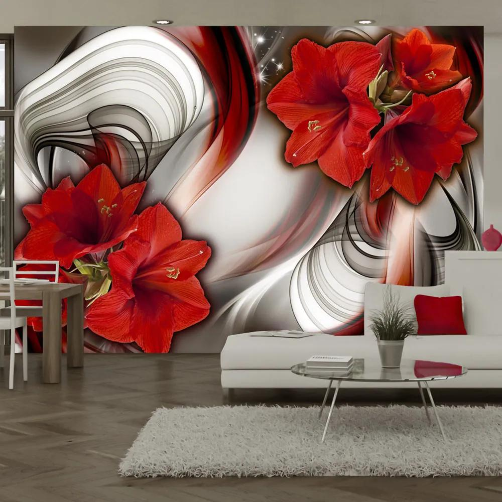 Fototapet Bimago - Amaryllis - Ballad of the Red + Adeziv gratuit 300x210 cm