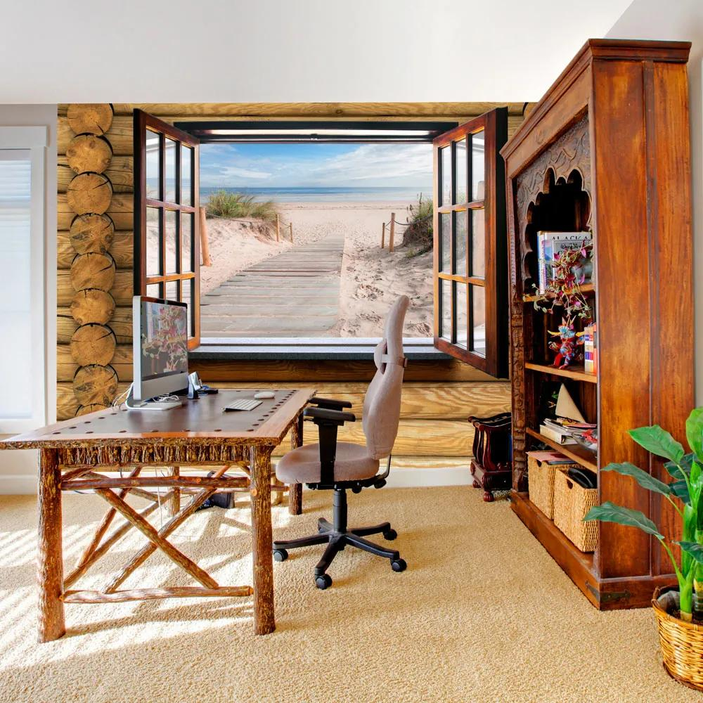 Fototapet Bimago - Beach outside the window + Adeziv gratuit 350x245 cm