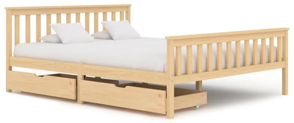 3060340 vidaXL Cadru de pat cu 2 sertare, 160 x 200 cm, lemn masiv pin