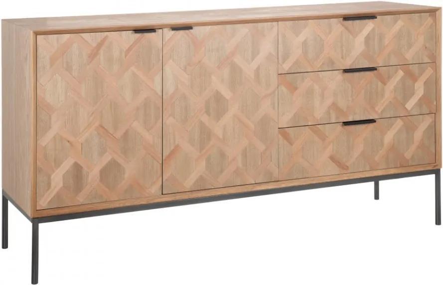 Bufet inferior maro din MDF si lemn de frasin 144 cm Vania Ixia