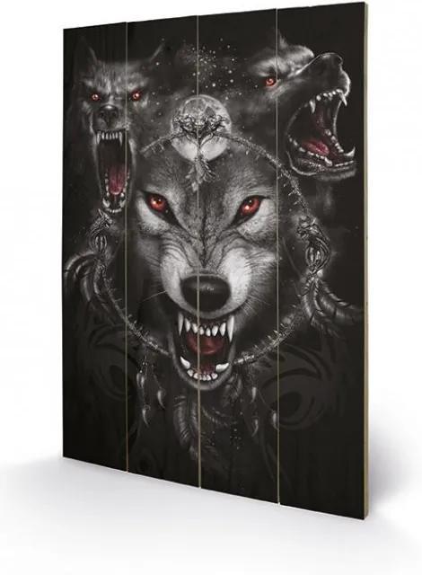 SPIRAL - wolf triad Pictură pe lemn, (40 x 59 cm)