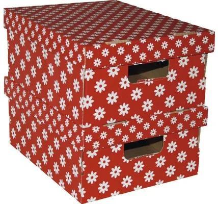 Set 2 cutii de carton cu capac, rosu 33x27x15 cm