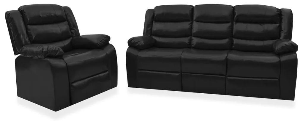 3055331 vidaXL Set canapea rabatabilă, 2 piese, negru, piele ecologică