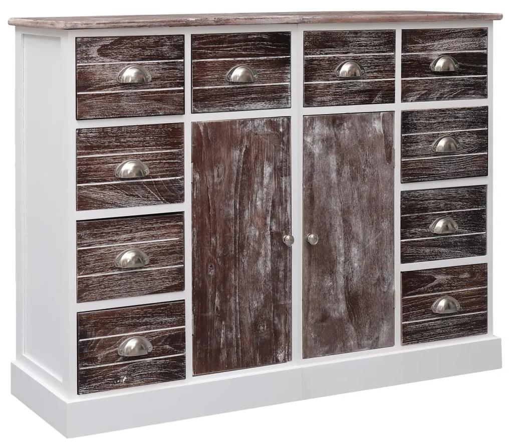 284174 vidaXL Servantă cu 10 sertare, maro, 113 x 30 x 79 cm, lemn