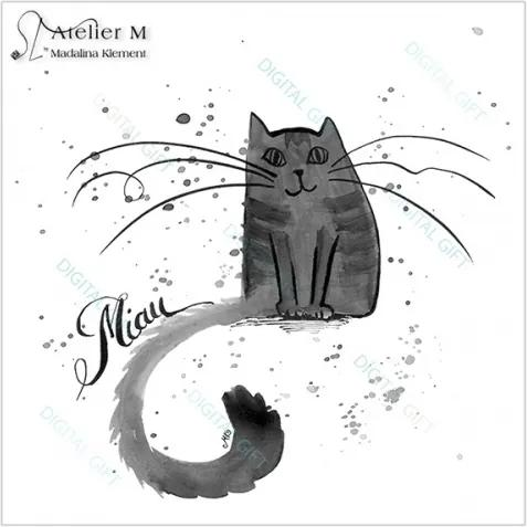 Sticker pentru perete - Miau, Miau 100x100 cm