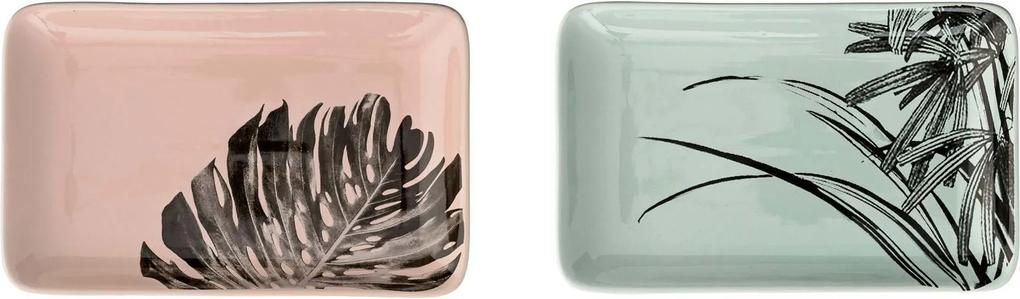Set 2 Farfurii Sooji, Multicolor, Ceramica 19x12 cm