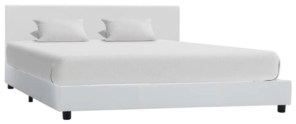 284764 vidaXL Cadru de pat, alb, 120 x 200 cm, piele ecologică