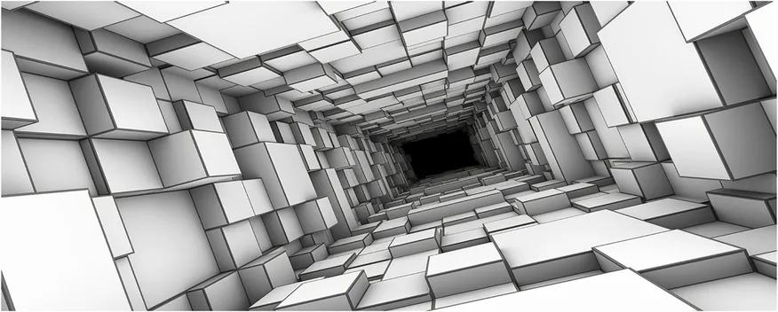 Pictura pe sticlă acrilică Tunel cu cuburi