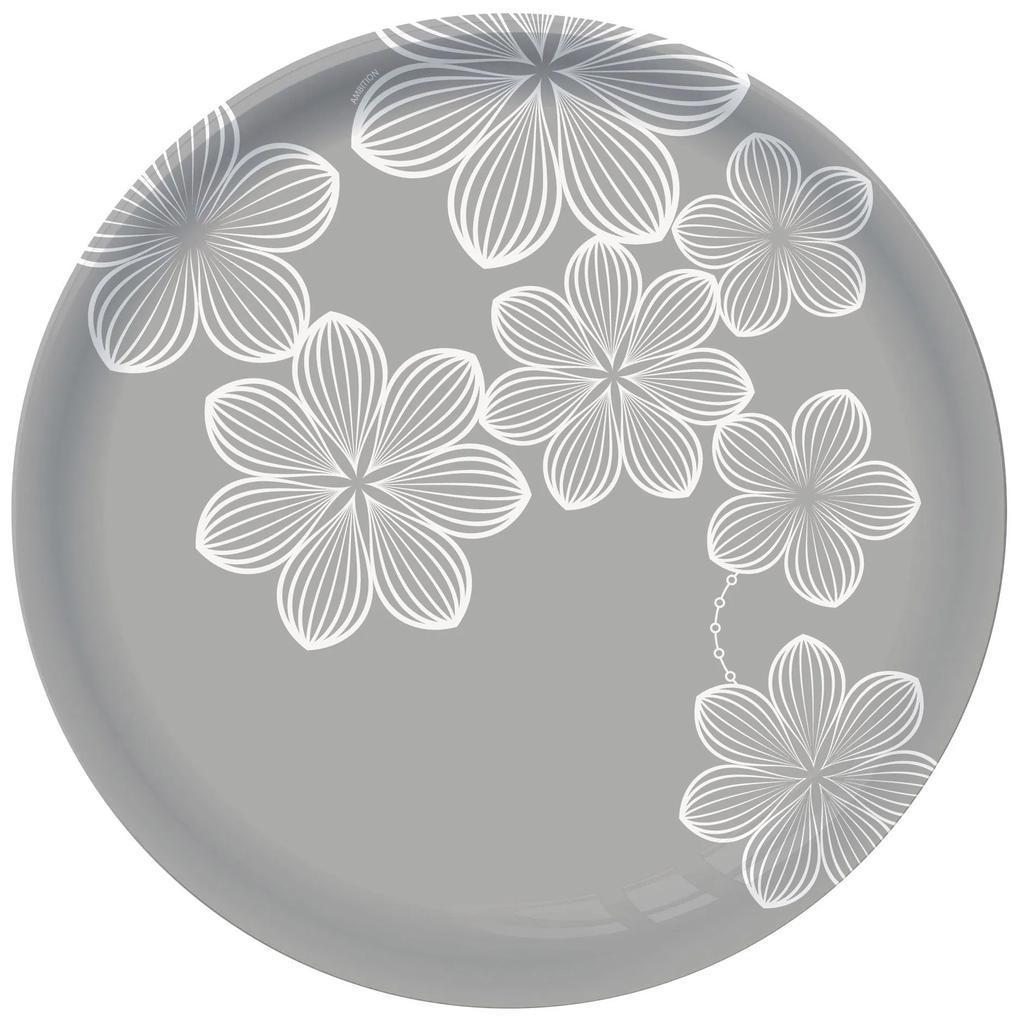 Farfurie intinsa 26 cm sticla gri Dream Flower