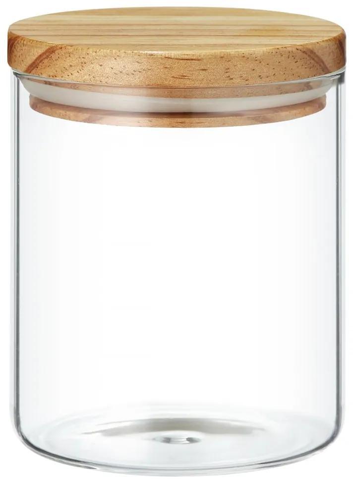 Borcan sticla 1L capac lemn Nordic