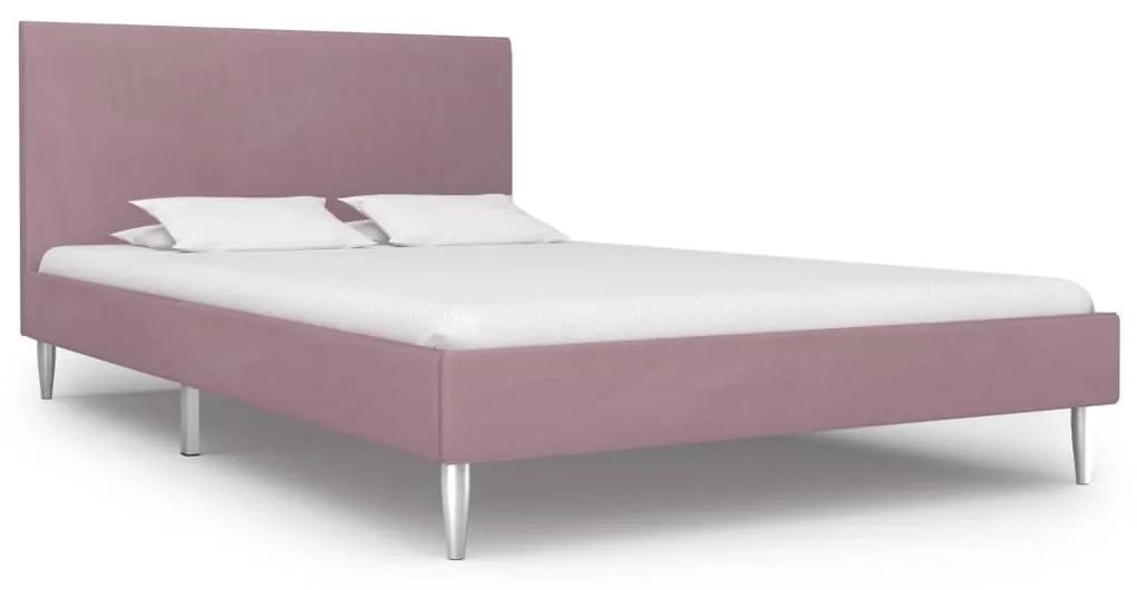 280957 vidaXL Cadru de pat, roz, 120 x 200 cm, material textil