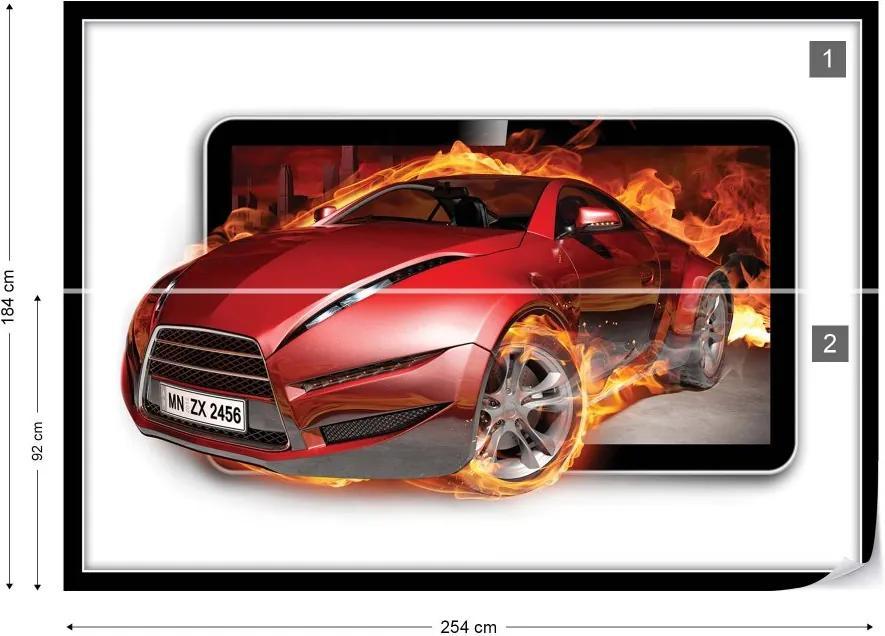 Fototapet GLIX - Red Sport'S Car Flames + adeziv GRATUIT Tapet nețesute - 254x184 cm