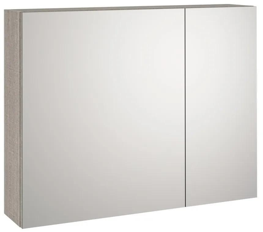 Dulap de baie cu oglinda MALMO, Melamina, Gri, 90x20x70 cm