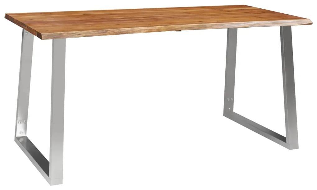 283891 vidaXL Masă de bucătărie, 160x80x75 cm, lemn acacia & oțel inoxidabil